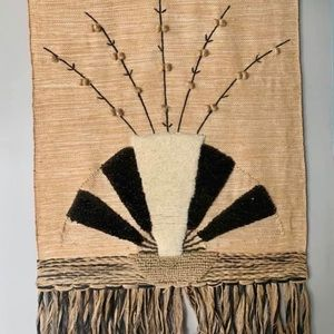 Vintage Handmade Jute Loom India Fan Boho Decor